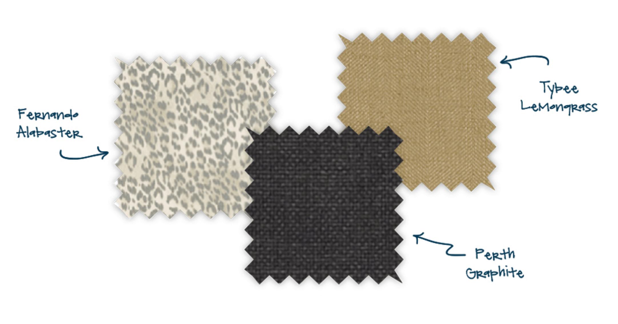 fabric swatches, fernando alabaster, tybee lemongrass, perth graphite