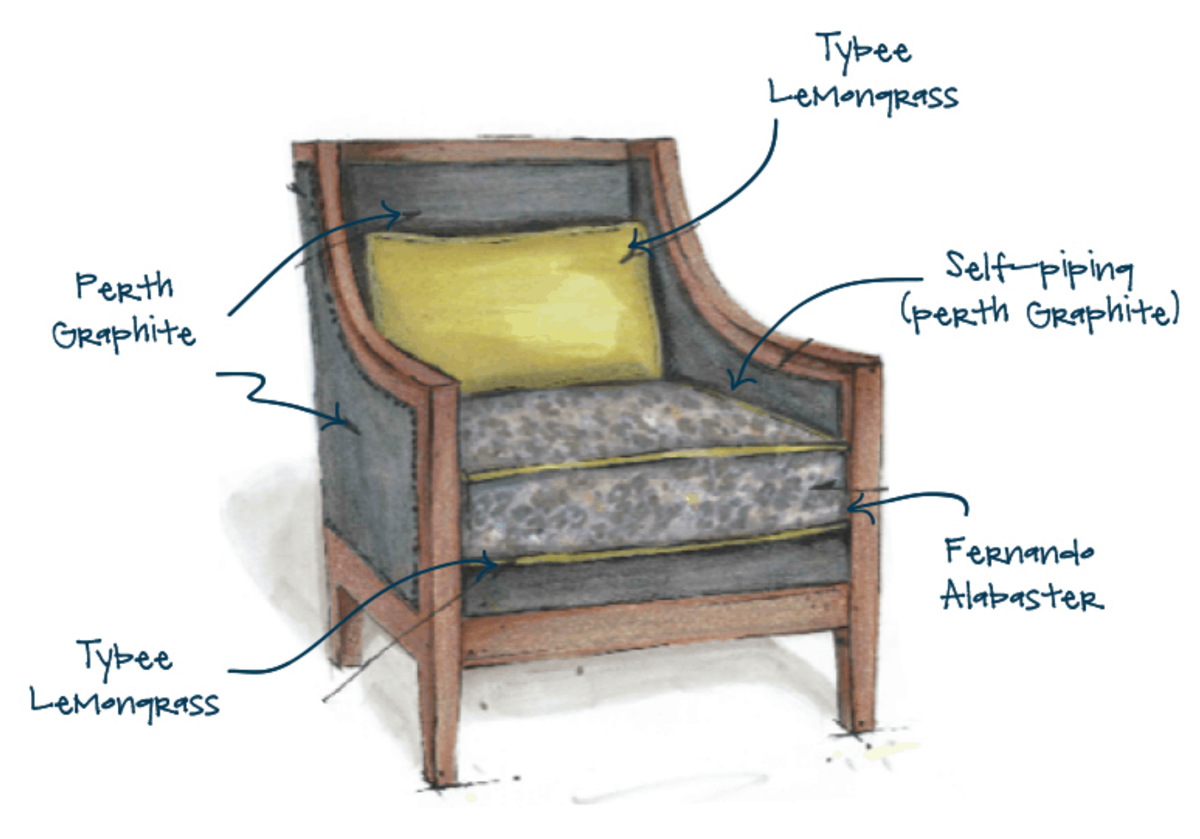 artist rendering of decorative chair, yellow pillow, alabaster arms, gray cushion