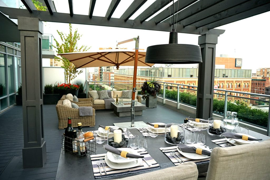 urban terrace with dining and lounging seating areas