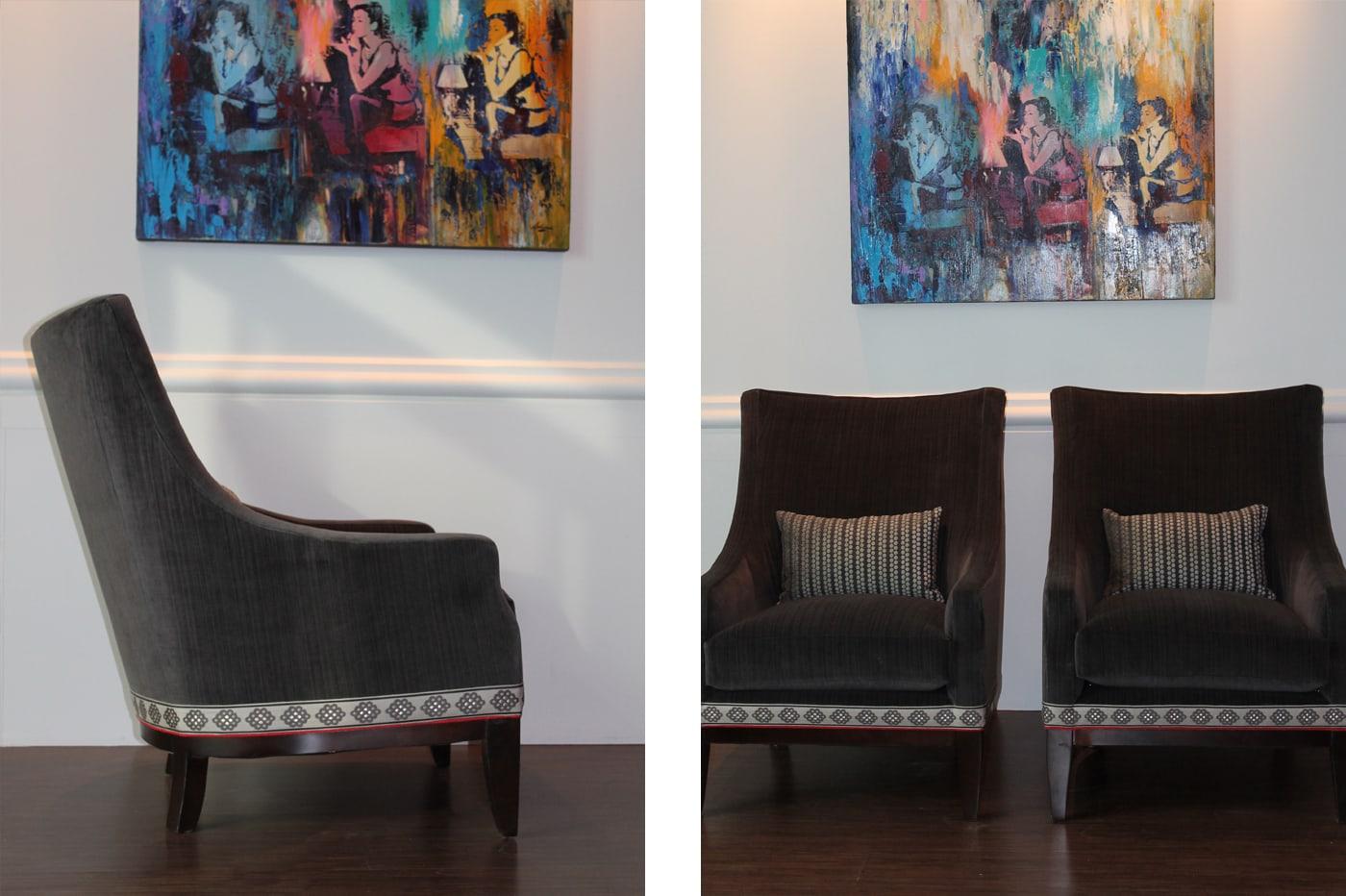 black furniture, colorful wall art