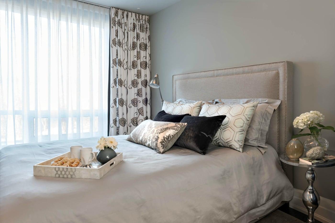 cozy bedroom, breakfast tray on bed