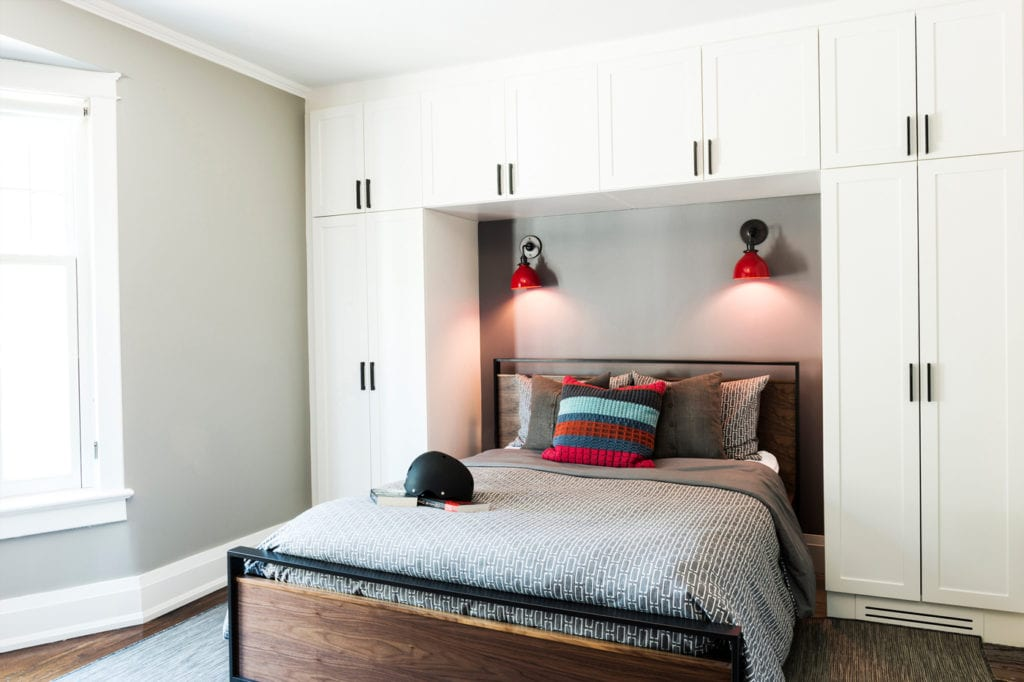 bedroom with white uilt-in storage