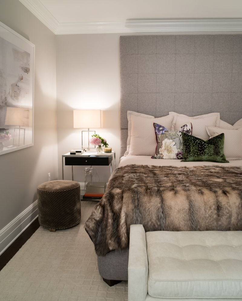 gray bedroom, gray fur throw blanket, white pillows