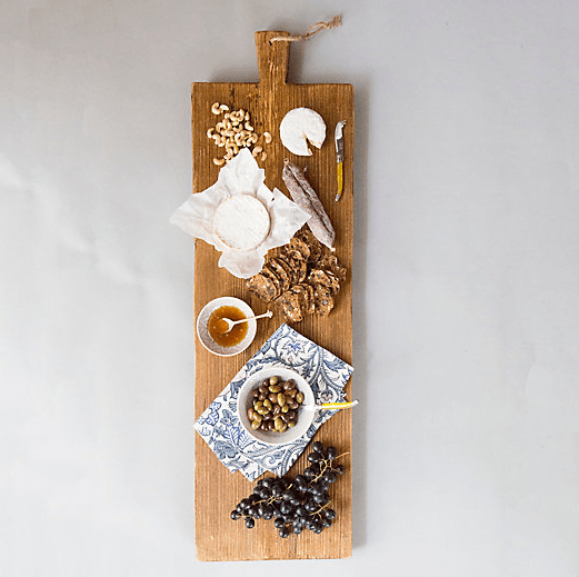 rustic serving platter with food