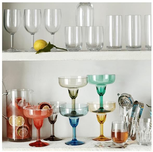 Williams Sonoma Margarita Glasses, Set of 6, Multi-Color