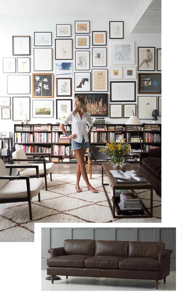 woman standing room with white rug, bookshelf, wall art
