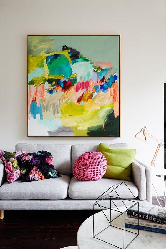 colorful wall art, living room