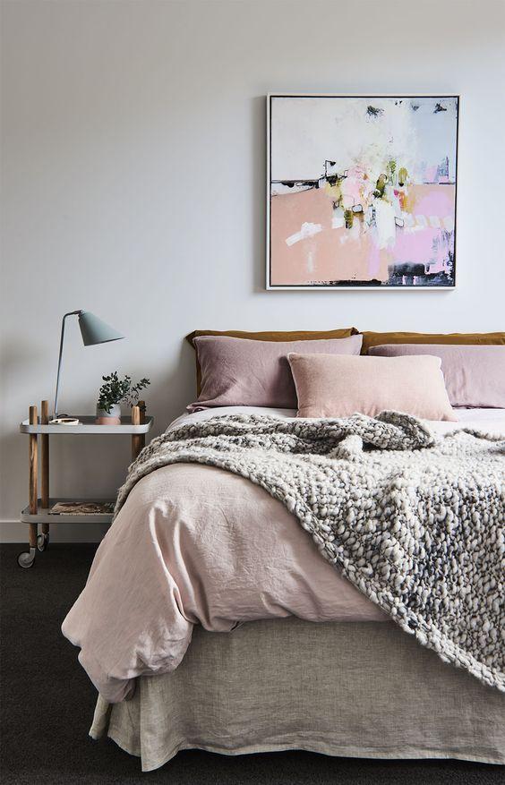 cozy bedroom, pink wall art