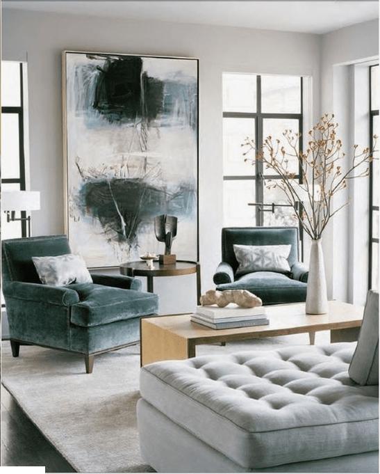modern living room, grayscale wall art
