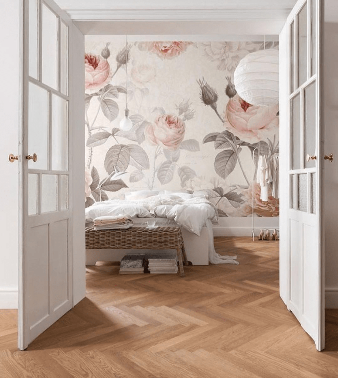 bedroom, wood flooring, floral wallpaper