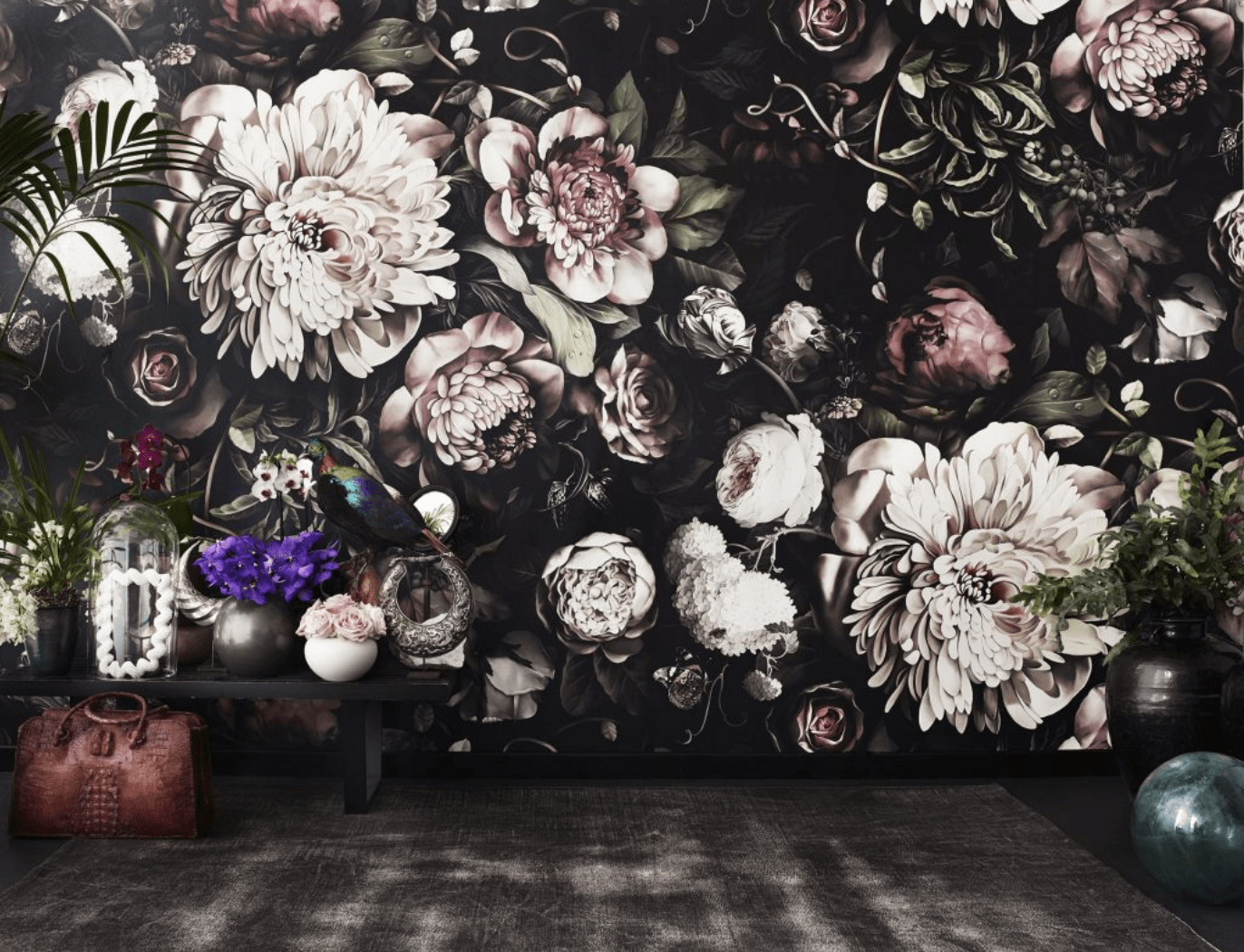 dark room, dark floral wallpaper, white flowers