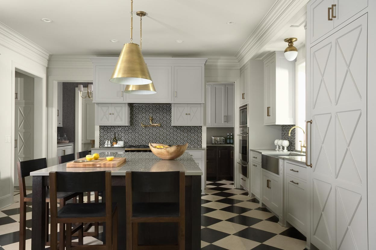 modern kitchen, checkered flooring, island with bar stools