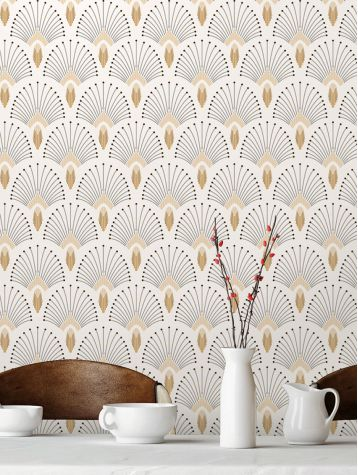 white art deco inspired wallpaper