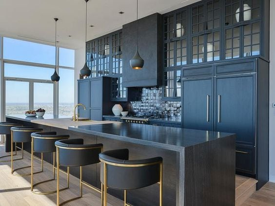 gray modern kitchen with island, bar stools