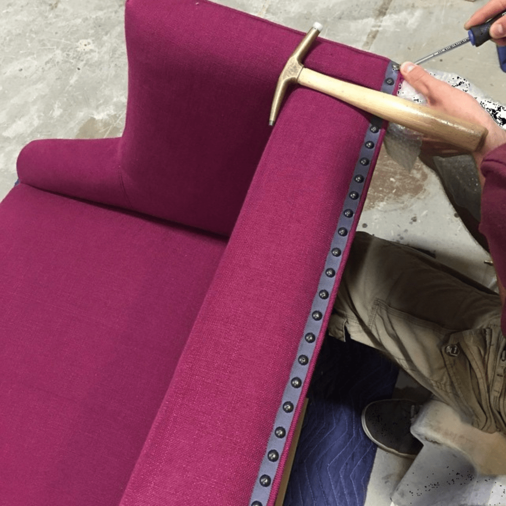 high quality sofa being assembled
