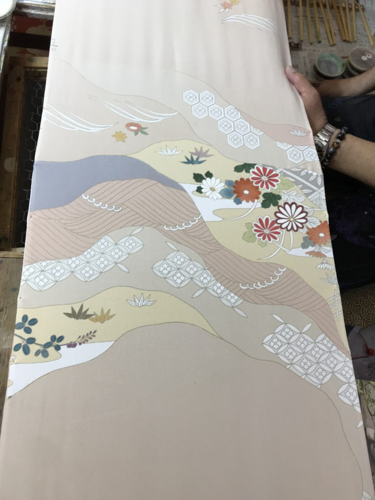 close up of freshly painted kimono silk