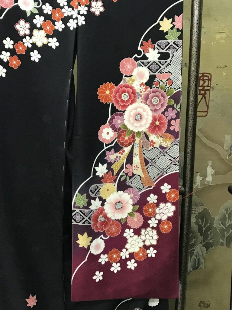 black kimono with vibrant colours