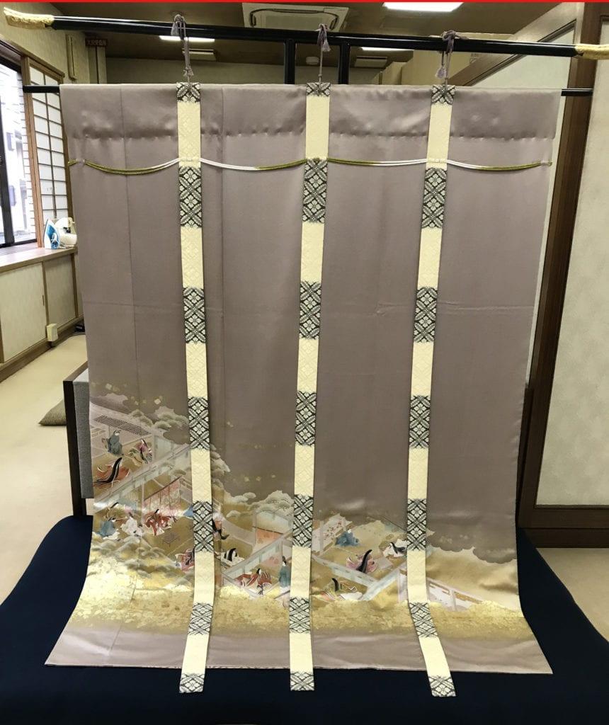landscape scene paintedon kimono