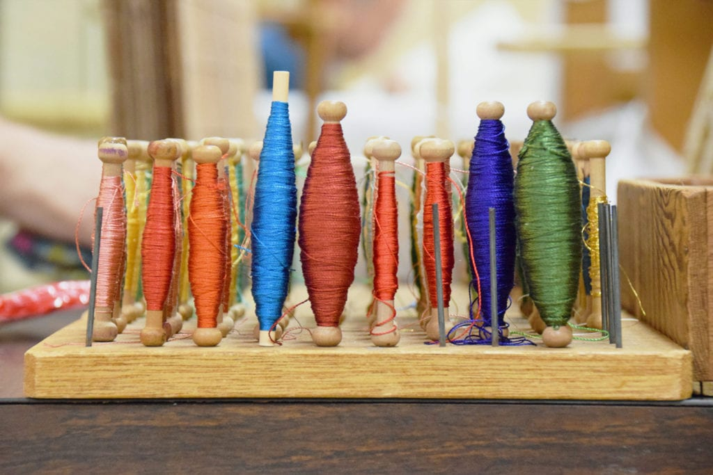 spindles of silk threads
