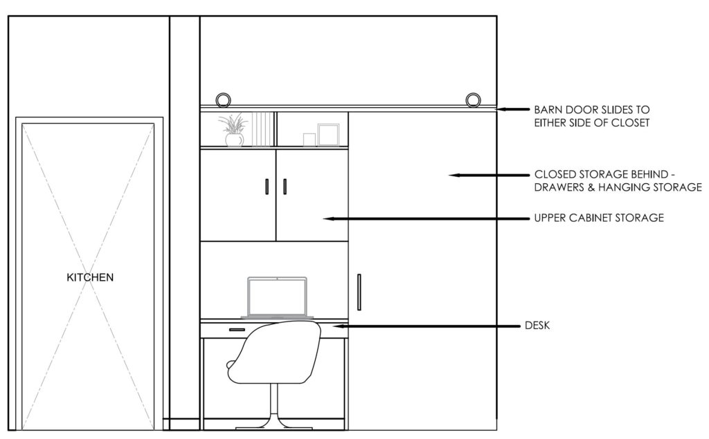 Cadd drawing of a closet converted to a small workstation