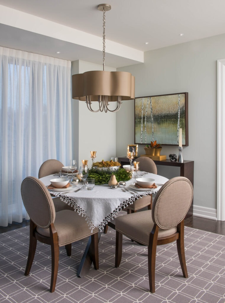 dining setting, round dining table and pretty pendant with shade