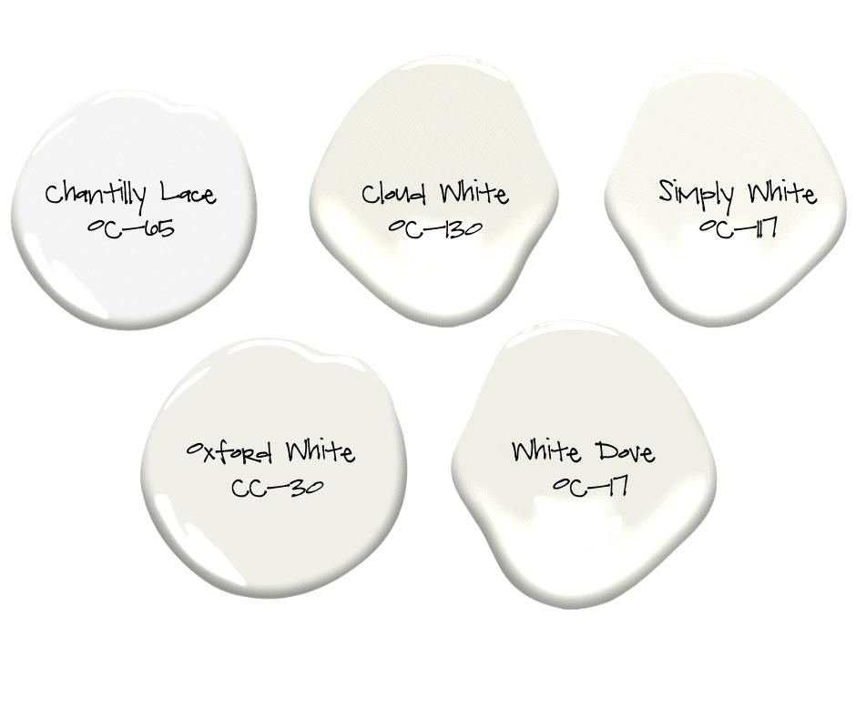 five paint colour chips