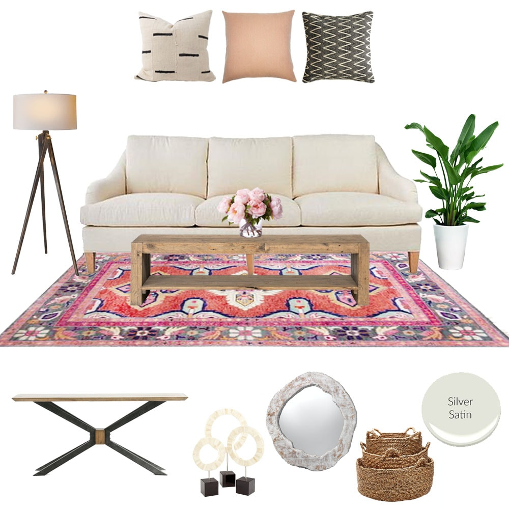 Living Room mood board with white sofa and pretty pillows, and pink rug