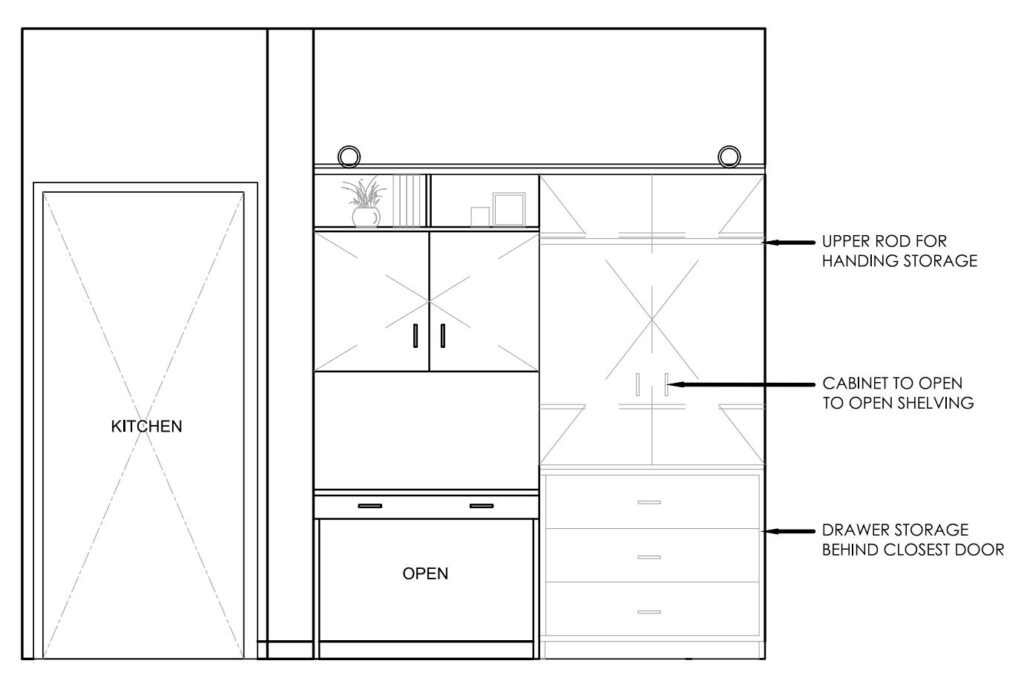Cadd drawing showing interior organization of the closet converted to workspace