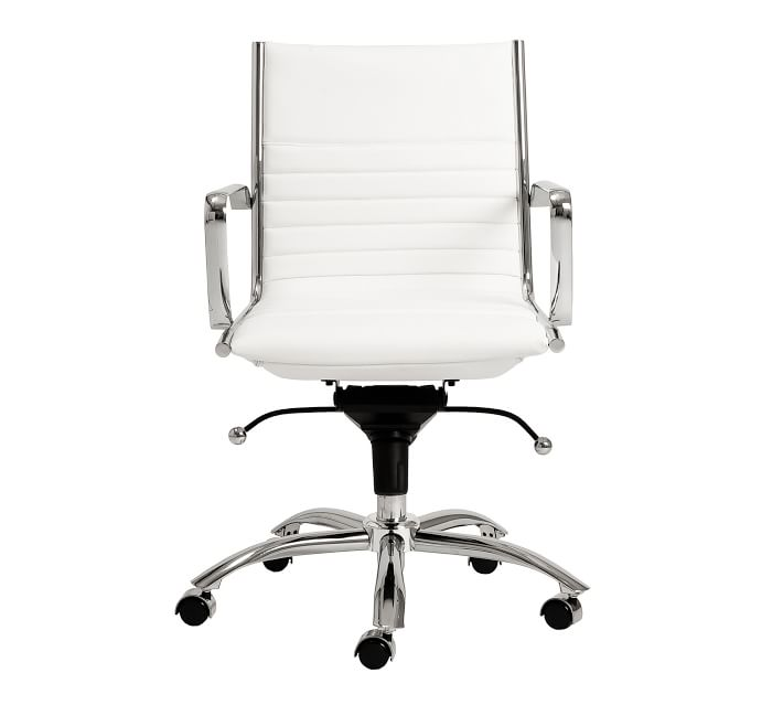 white leather look desk chair with chrome frame