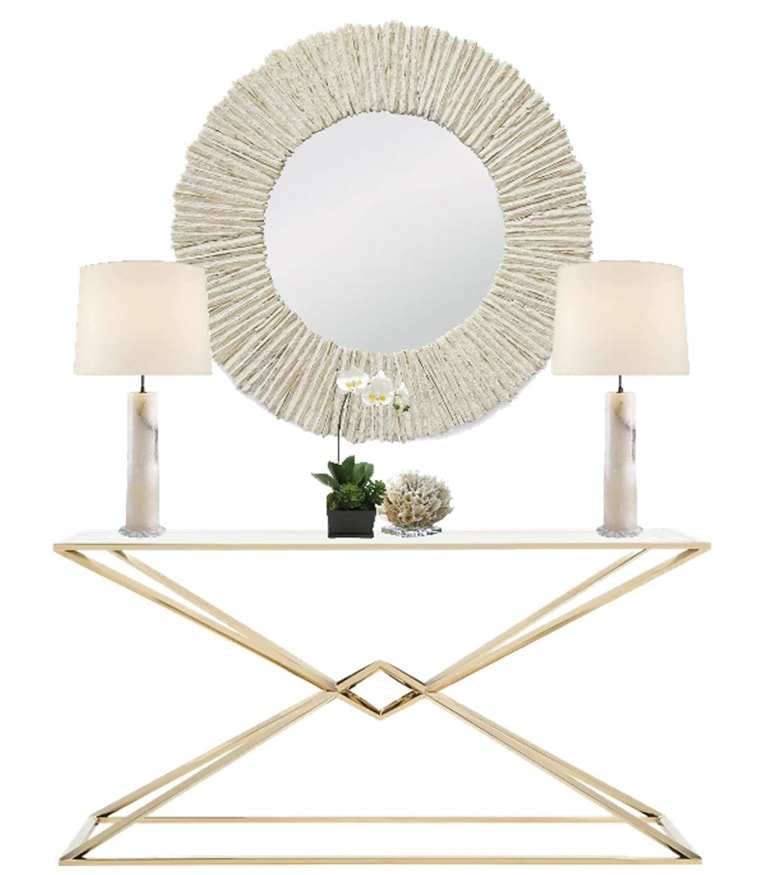 console tabel with ridged frame-mirror, two lamps