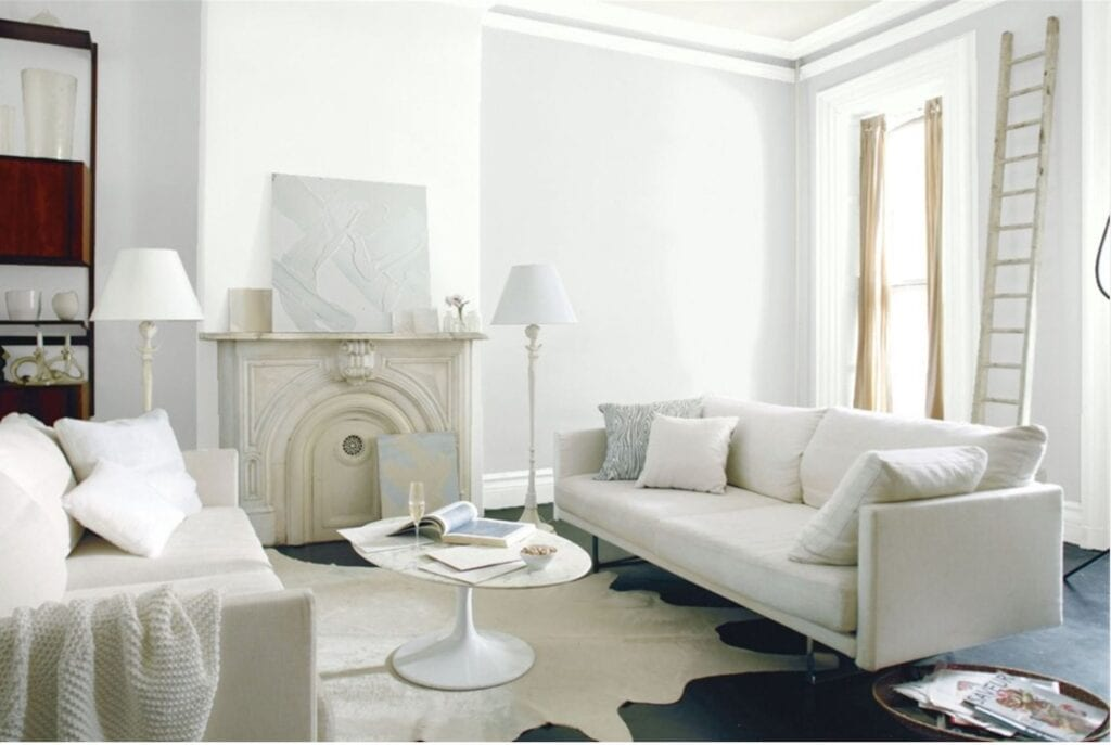 white paint colours living room
