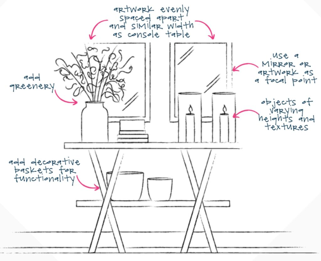 sketch of a foyer with a console, framed artwork, candles, and a vase with branches