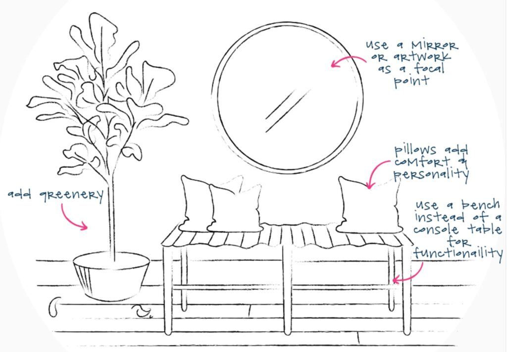 sketch of a foyer with a bench, mirror, and a tree
