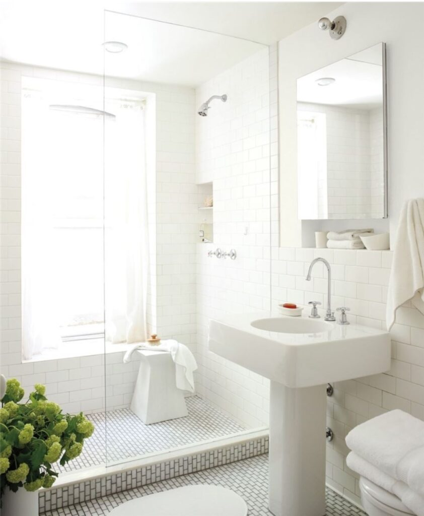 all-white bathroom