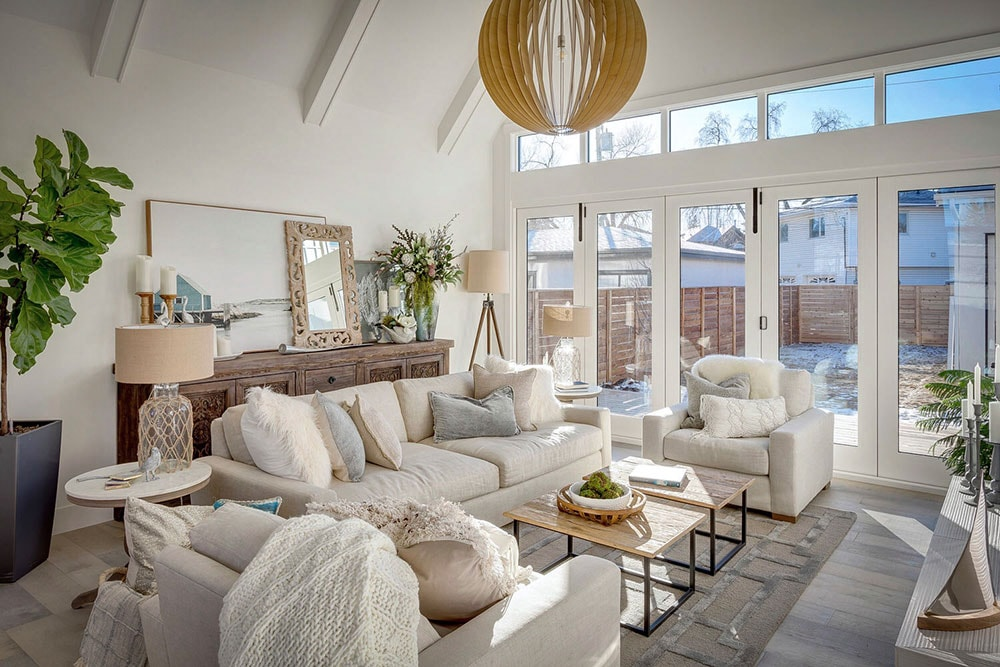 living room seating grouping in neutral colours