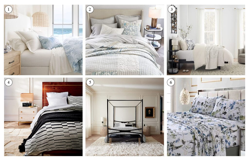 collage of beds showing sheets