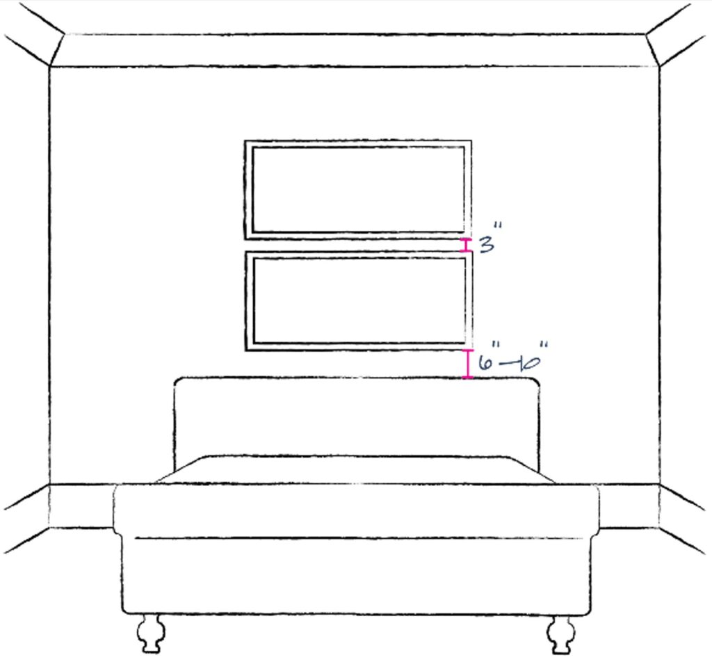 sketch of bedroom showing placement of 2 individual art pieces stacked one above the other for height