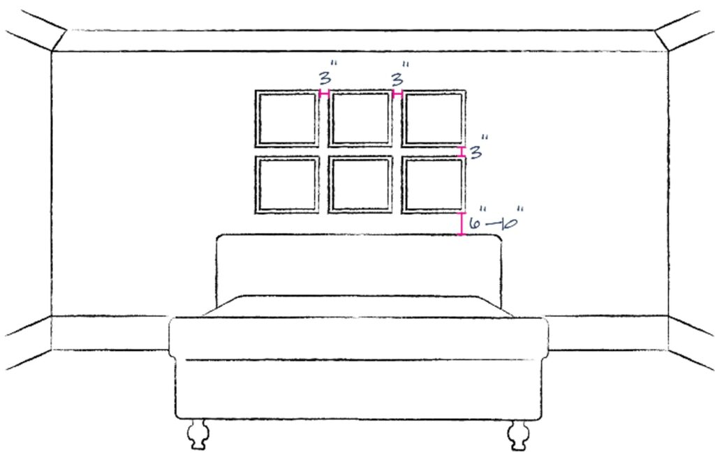 sketch of bedroom showing placement of 6 individual art pieces hung in 2 rows