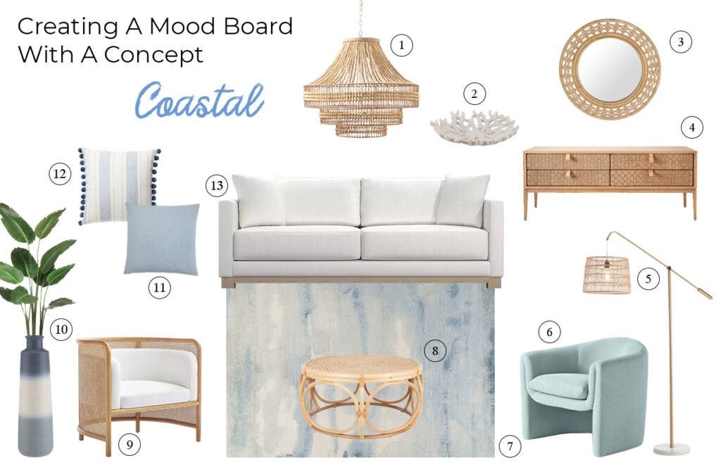 Coastal moodboard fo rliving room wiht white sofa, soft blues, and rattan elements