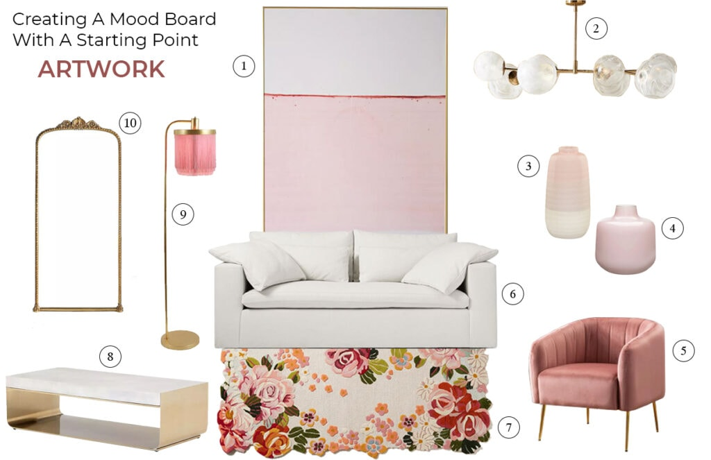 living room moodboard with soft pink abstract artwork and pretty floral rug, and feminine accents