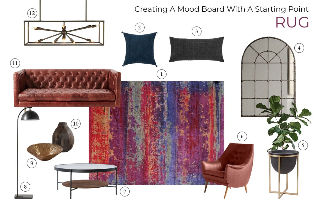 moodboard with jewel toned rug, and rich russet upholstery and deep emerald green accents