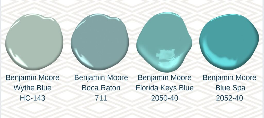 4 blue paint swatches