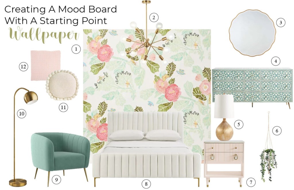moodboard from flowered wallpaper in soft pink and green for a bedroom with pink and green accents