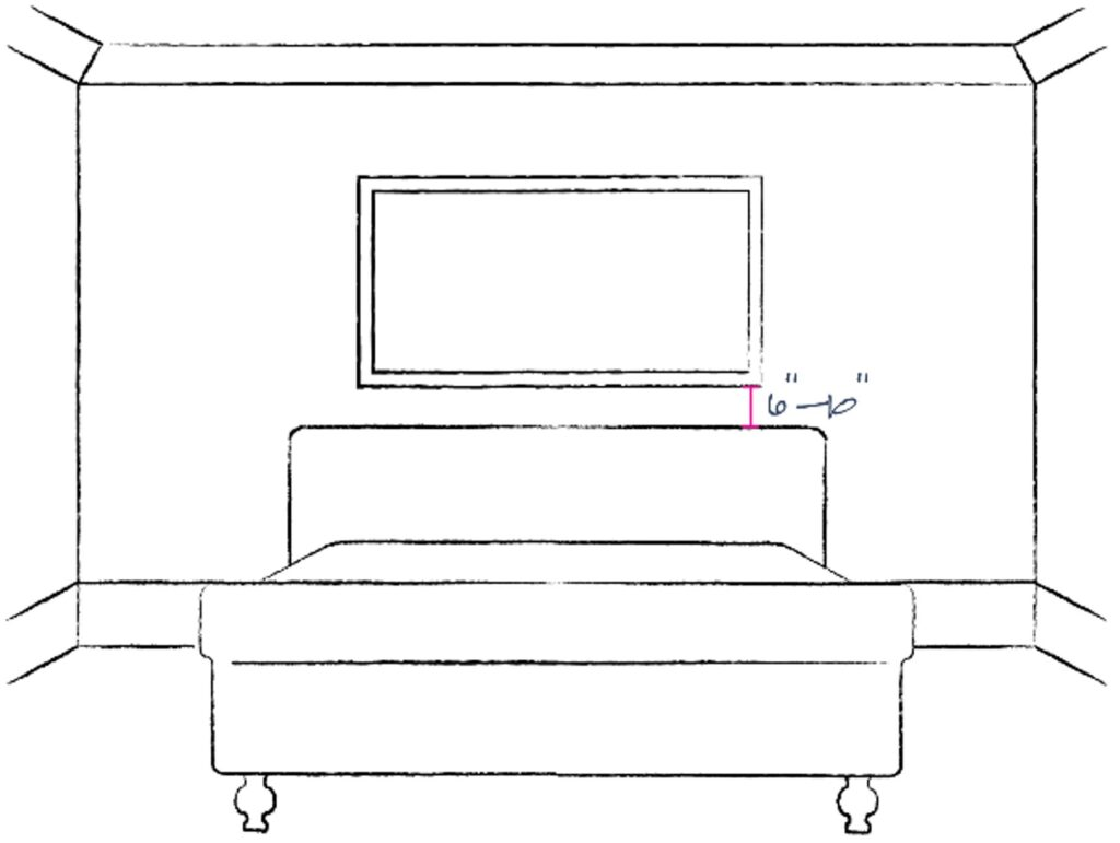 Sketch of bedroom showing placement of a single art piece