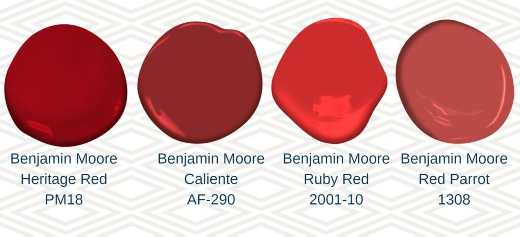 4 red paint swatches