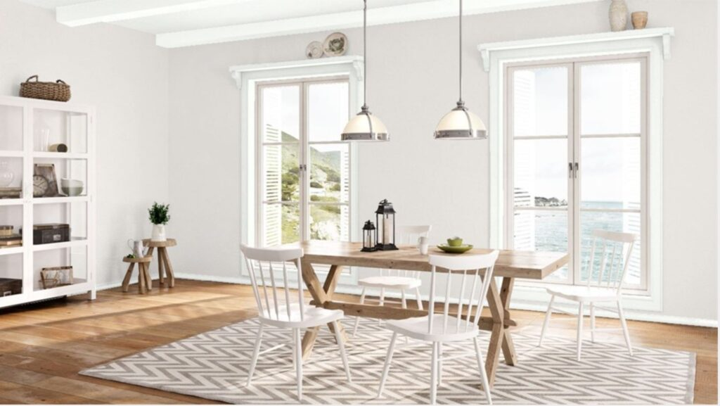 dining room with soft gray wall colour