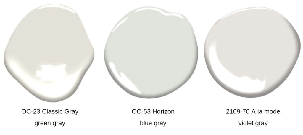 three gray paint swatches for comparison