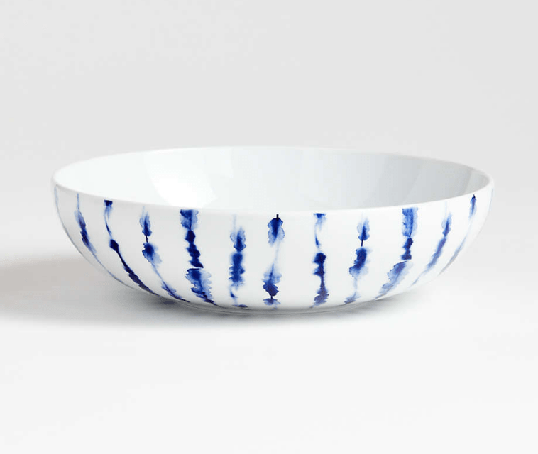 Omri blue and white serving bowl from Crate and Barrel