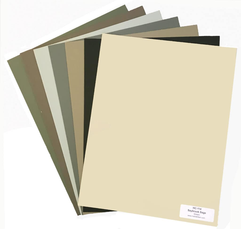Fanned collection of muted green paint colorus