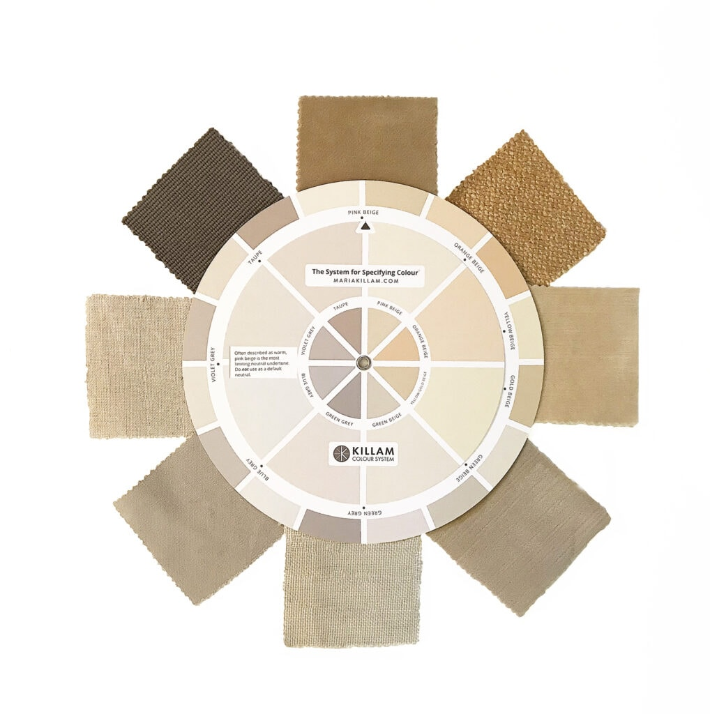 Colour wheel with fabric swatches showing undertones